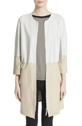 Women's Eleventy Two Tone Leather And Suede Collarless Jacket