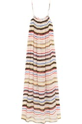 Marysia Carmel Striped Cotton And Silk Blend Gauze Maxi Dress White