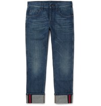 Gucci Slim Fit Cropped Washed Denim Jeans Blue