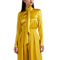 Martin Grant Tieneck Silk Blouse Yellow