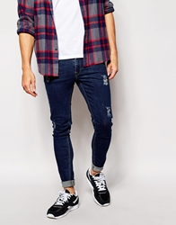 Asos Extreme Super Skinny Jeans With Tint Blue