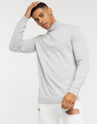 New Look Roll Neck Jumper In Light Grey