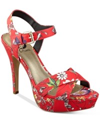 G By Guess Cenikka Platform Dress Sandals Women's Shoes Red Floral