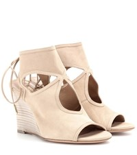 Aquazzura Sexy Thing Wedge Suede Sandals Beige