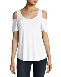 Philosophy Short Sleeve Cold Shoulder Jersey Top White