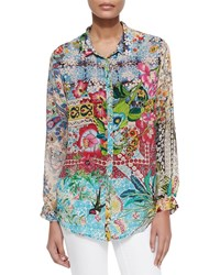 Johnny Was Milla Long Sleeve Floral Print Blouse Plus Size Multi