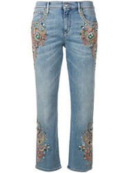 Roberto Cavalli Crystal Embroidered Cropped Jeans Blue