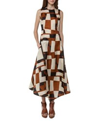 Akris Venetian Print Organza Midi Dress Brown White Brown White