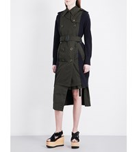 Sacai Contrasting Knit Cotton Coat Khaki Navy