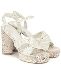Mercedes Castillo Calisse Leather Platform Sandals White
