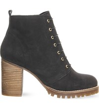 Office Loose Lipped Lace Up Ankle Boots Black Nubuck