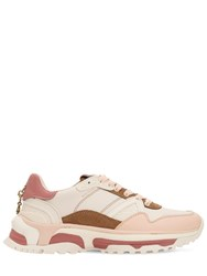 Coach 30Mm C143 Leather And Suede Sneakers White Pink
