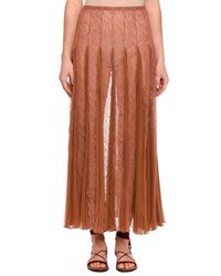 Valentino Pleated Chiffon Lace Maxi Skirt Beige