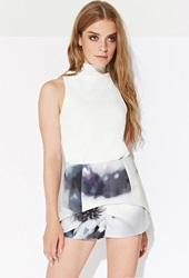 Forever 21 Ministry Of Style Copious Skort White Multi