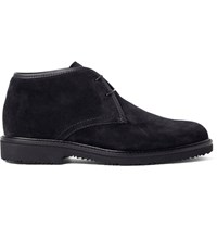 Ermenegildo Zegna Leather Trimmed Suede Desert Boots Midnight Blue
