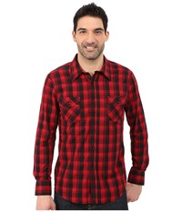 Rock And Roll Cowboy Long Sleeve Button B2b5425 Red Black Men's Long Sleeve Button Up