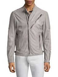 Diesel Zippered Leather Racer Jacket Grey