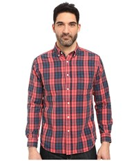 Vintage 1946 Oxford Washed Plaid Long Sleeve Woven Shirt Red Coral Men's Long Sleeve Pullover