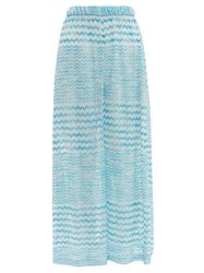 Missoni Mare Zigzag Knitted Wide Leg Trousers Blue