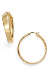 Argentovivo Argento Vivo Gold Twisted Flat Edge Hoop Earrings