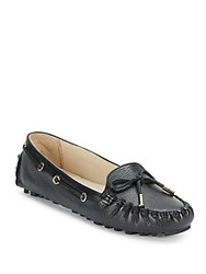 Cole Haan Round Toe Leather Flats Black