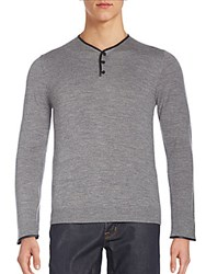 The Kooples Leather Trimmed Merino Wool Henley Sweater Grey