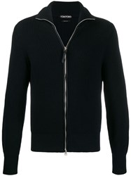 Tom Ford Full Zip Cable Knit Sweater Blue