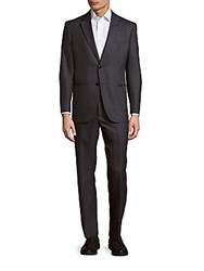 Giorgio Armani Patterned Virgin Wool And Silk Blend Suit Black