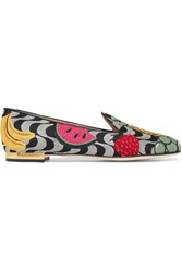 Charlotte Olympia Fruit Salad Embroidered Canvas Slippers Gray