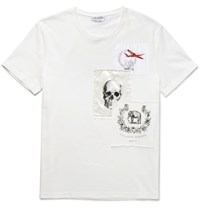 Alexander Mcqueen Slim Fit Appliqued Cotton Jersey T Shirt Off White