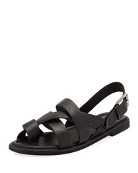 Frye Tait Strappy Leather Flat Sandals Black