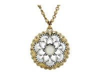 Lucky Brand Floral Pave Pendant Necklace Two Tone Necklace Metallic