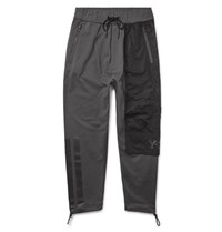 Y 3 Slim Fit Cropped Poplin Panelled Loopback Cotton Jersey Sweatpants Charcoal