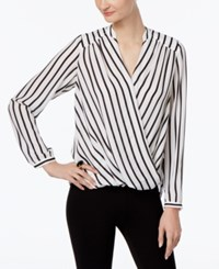 Inc International Concepts Striped Wrap Blouse Only At Macy's Black White Strip