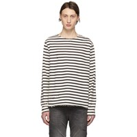 R 13 R13 Black And Off White Breton Long Sleeve T Shirt