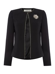 Tahari By Arthur S. Levine Black Blazer With Gold Flower Broach