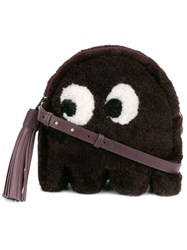Anya Hindmarch 'Eyes' Shearling Crossbody Bag Pink And Purple
