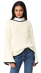 English Factory Knit Down Sweater With Tie Cuffs Off White Black