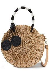 Kayu Woman Pompom Embellished Woven Straw Shoulder Bag Black