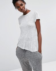 Y.A.S Frill T Shirt Gray