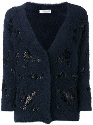 Brunello Cucinelli Glitter Patch Cardigan Blue