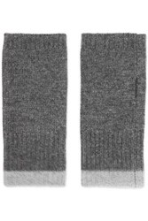 Duffy Ribbed Wool And Cashmere Blend Fingerless Gloves Gray