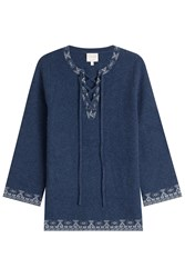 Claudia Schiffer Wool And Cashmere Pullover With Lace Up Front Blue