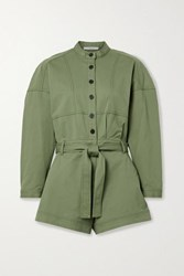 Derek Lam 10 Crosby By Calla Belted Cotton Blend Twill Playsuit Army Green
