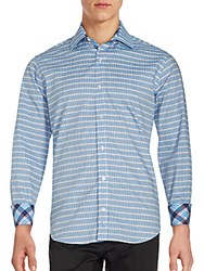 Tailorbyrd Long Sleeve Striped Cotton Shirt Light Blue