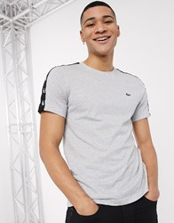 Lacoste Sport Shoulder Taping T Shirt In Grey