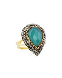 Native Gem Jewelry Ilume Chalcedony And Crystal Adjustable Cocktail Ring Blue
