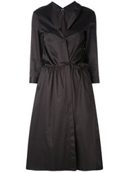 Jil Sander Navy Wrapped Shirt Dress Women Cotton 36 Black