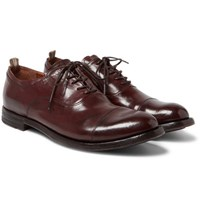 Officine Creative Anatomia Polished Leather Oxford Shoes Brown