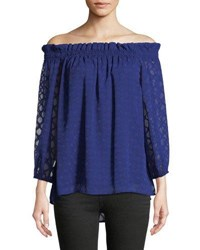 Cynthia Steffe Off The Shoulder Jacquard Blouse Blue